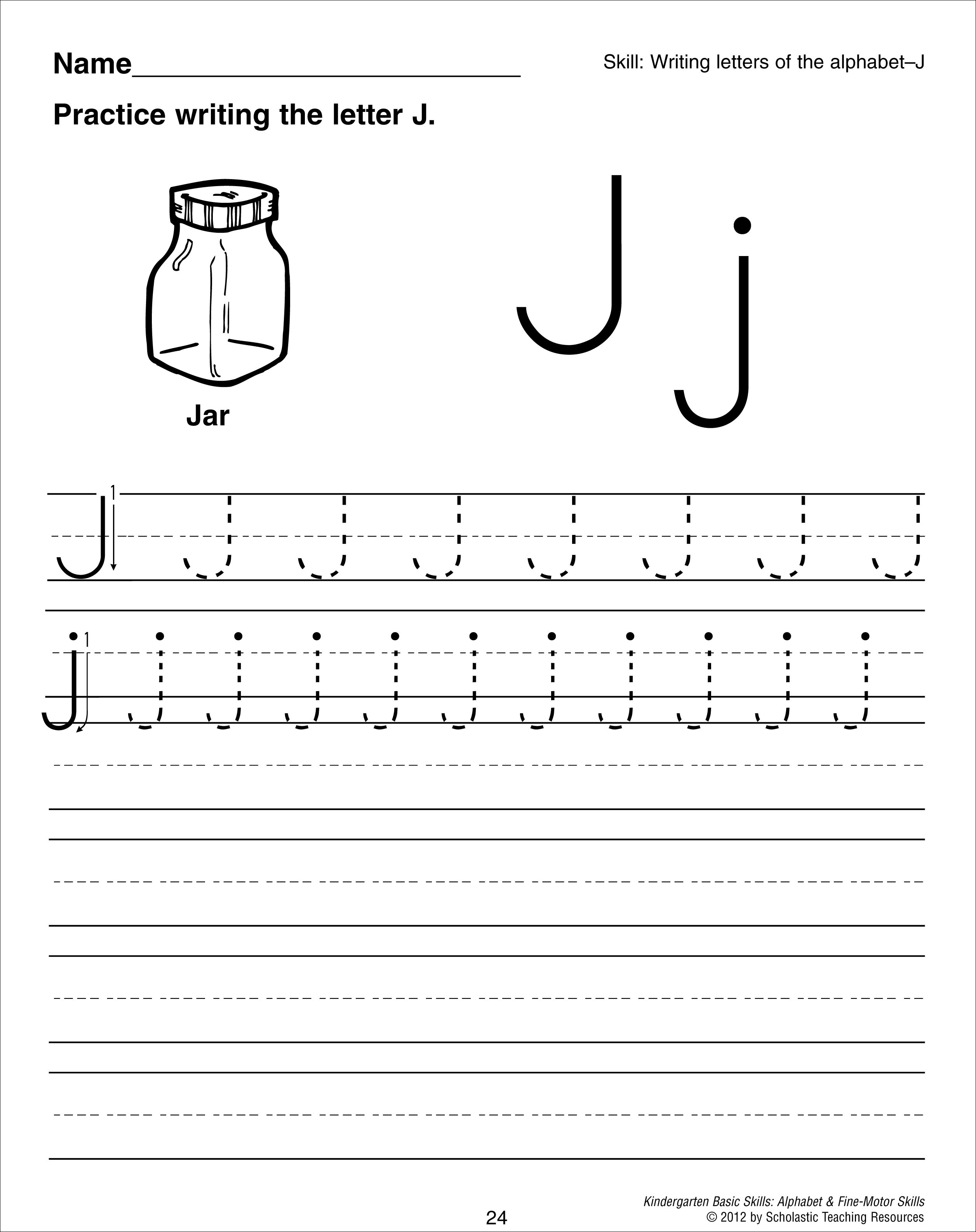 Worksheet Spanish Letter J