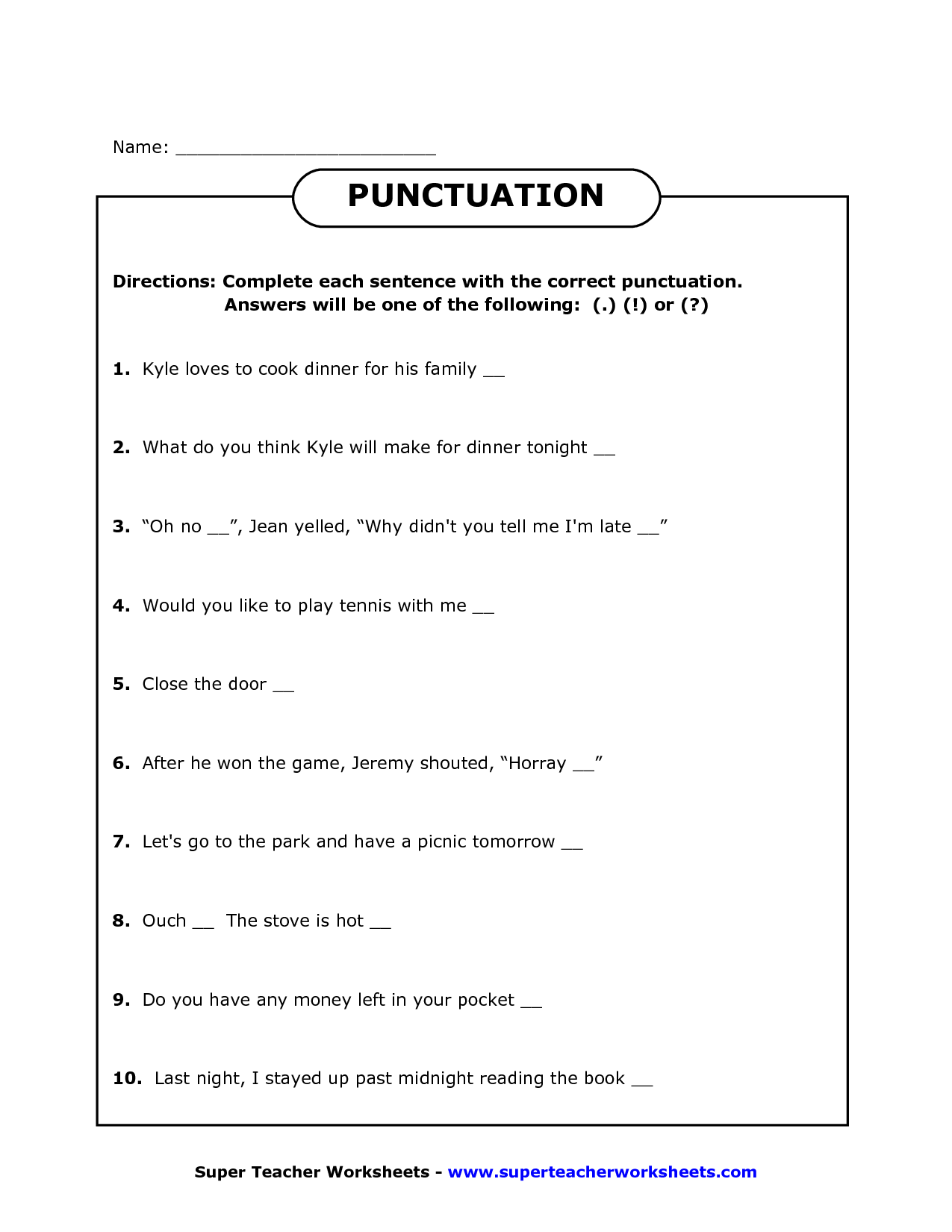 18 Best Images Of The Correct Punctuation Worksheet