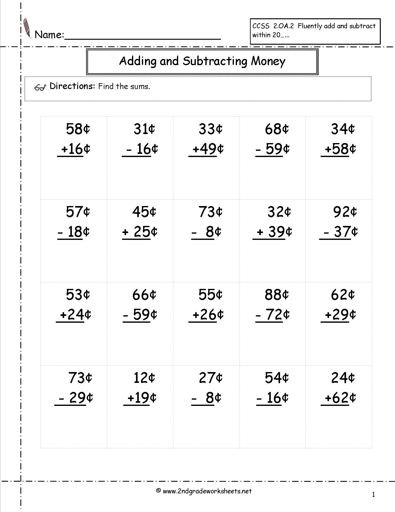 Decimals And Money Worksheet