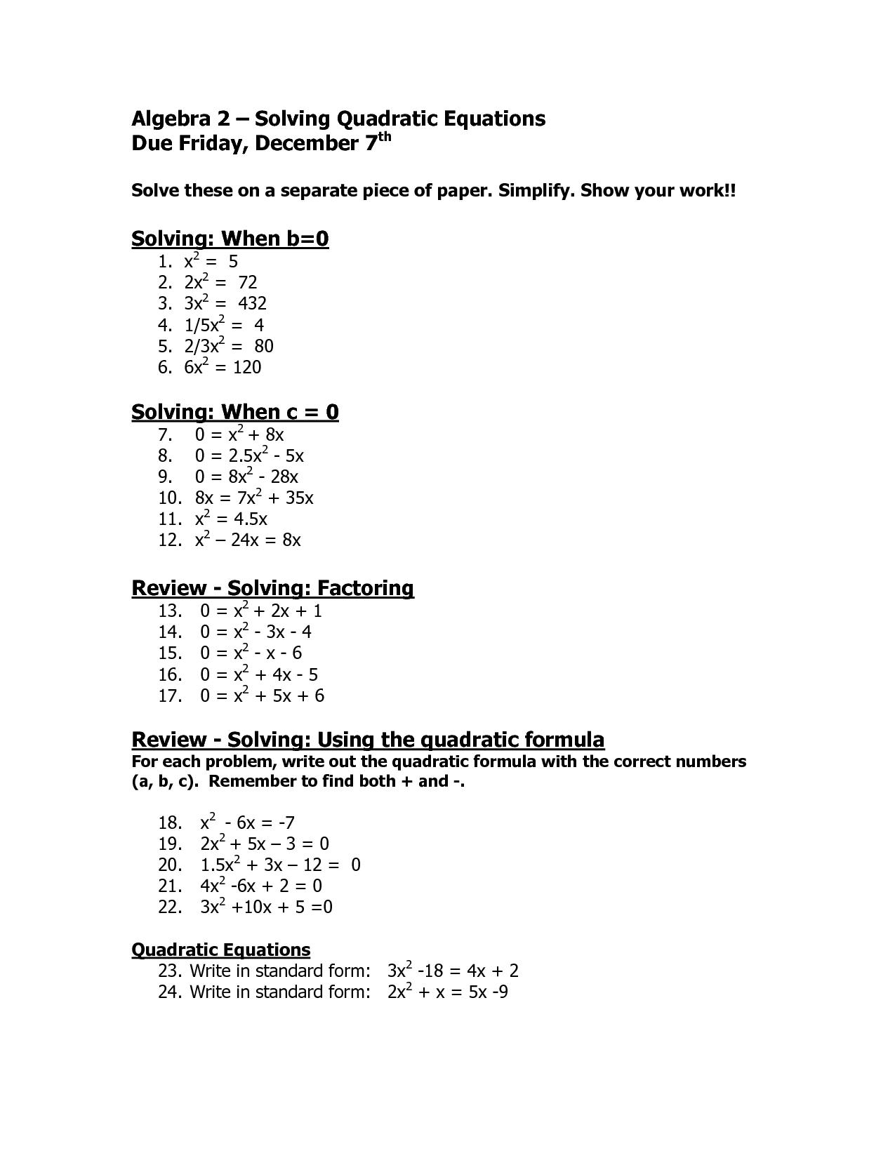 9 Best Images Of Solving Complex Equations Worksheet
