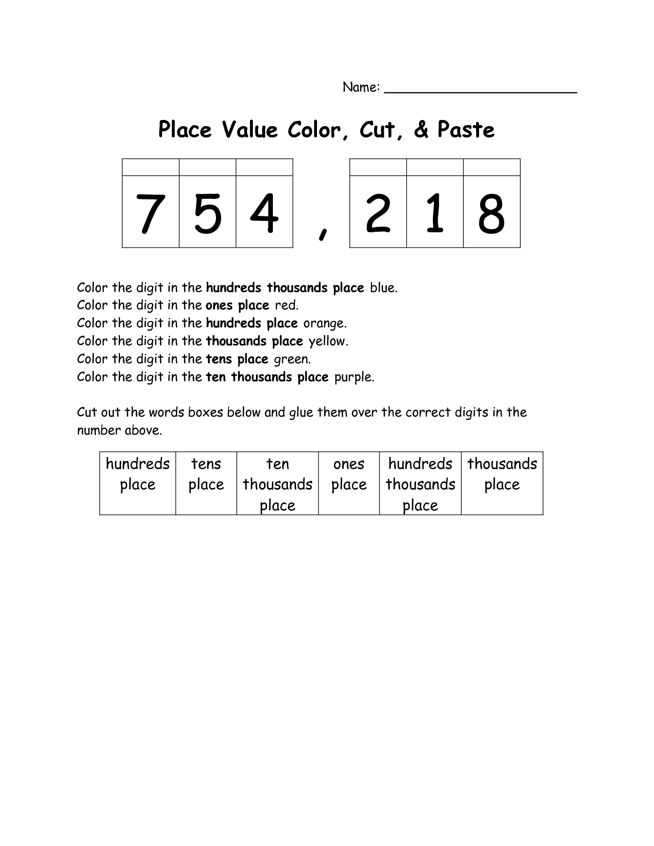 15 Best Images Of Place Value Coloring Worksheets
