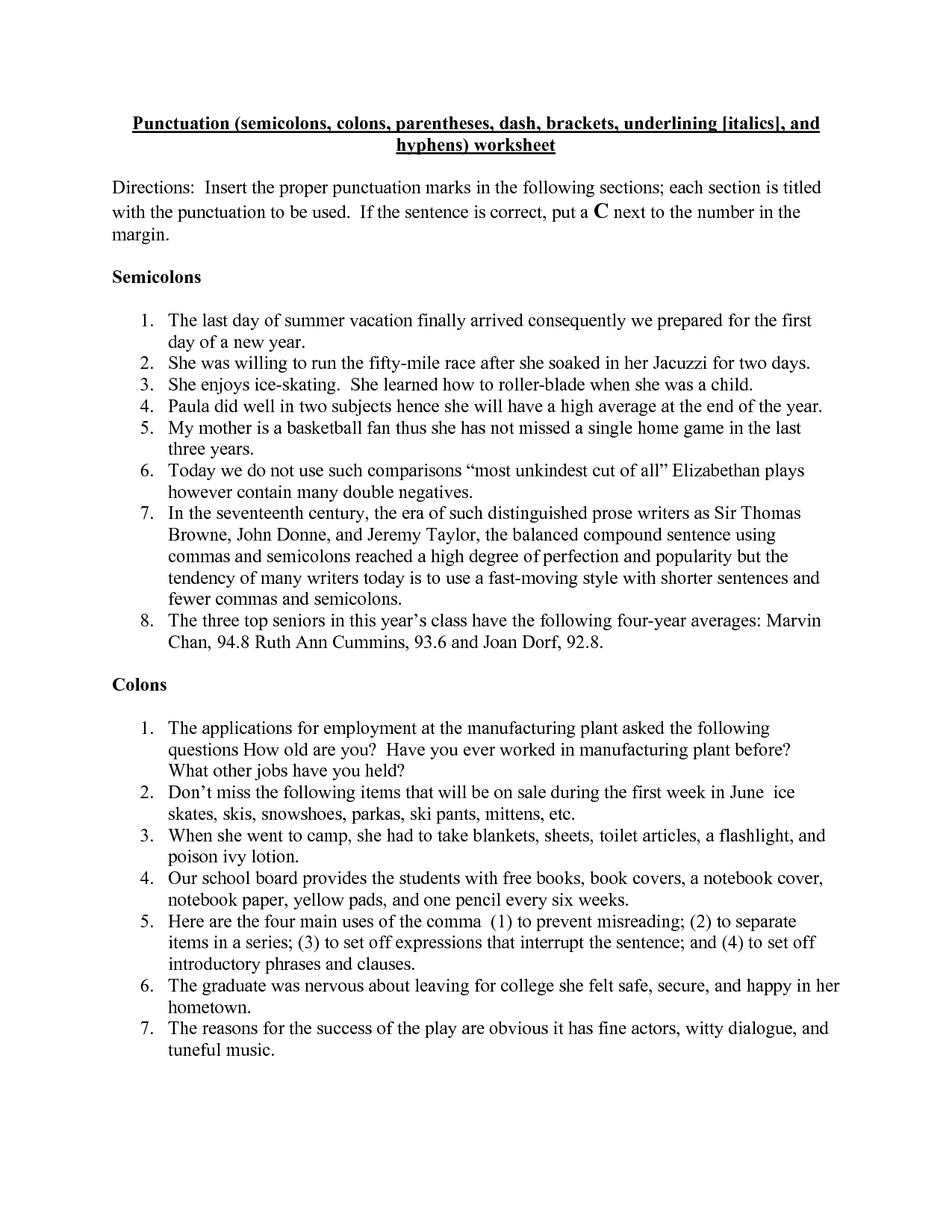 Worksheet On Using Punctuation Marks