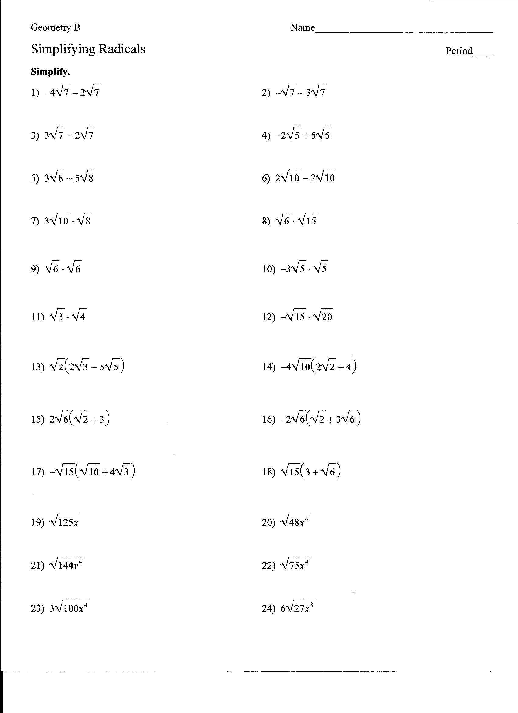 35 Simplifying Radicals Worksheet Algebra 1