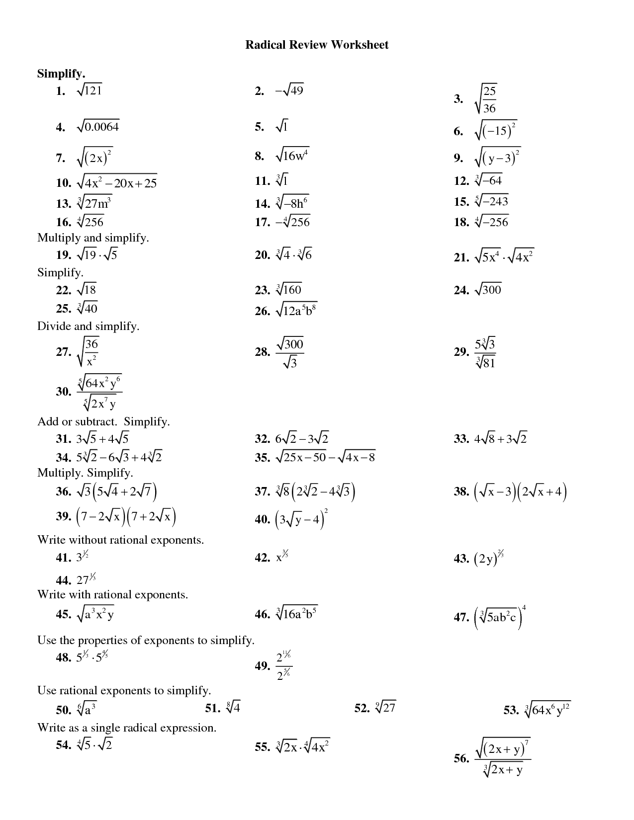 Dividing Radicals Worksheet