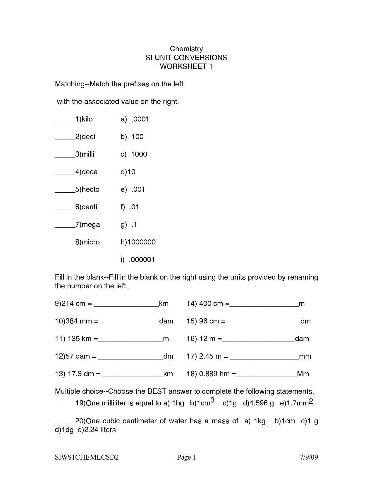 15 Best Images Of Chemistry Unit 5 Worksheet 1