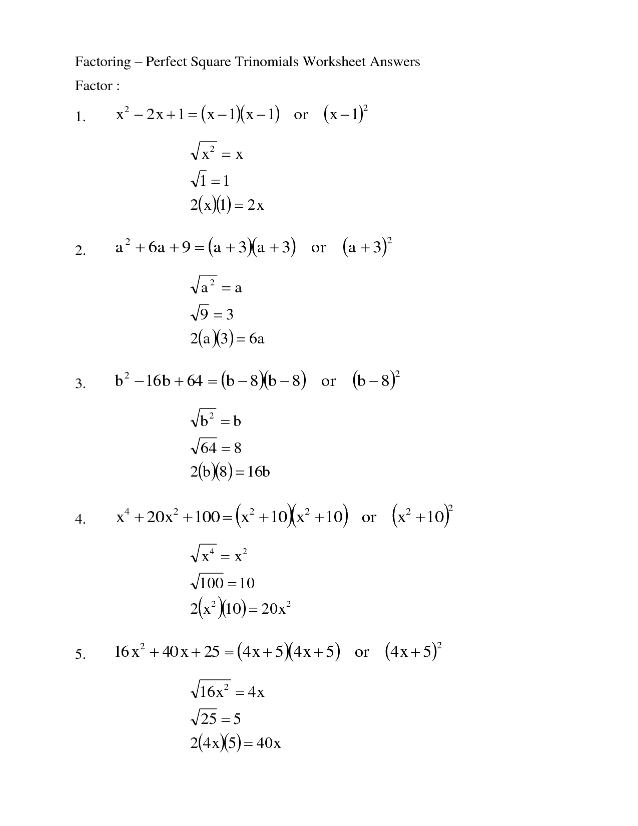 Math Homework Help Factoring