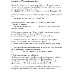 Pronoun Worksheet 7th Grade   Printable Worksheets and Activities for  Teachers [ 1650 x 1275 Pixel ]
