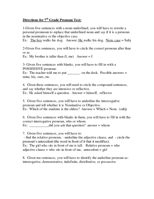 small resolution of Pronoun Worksheet 7th Grade   Printable Worksheets and Activities for  Teachers