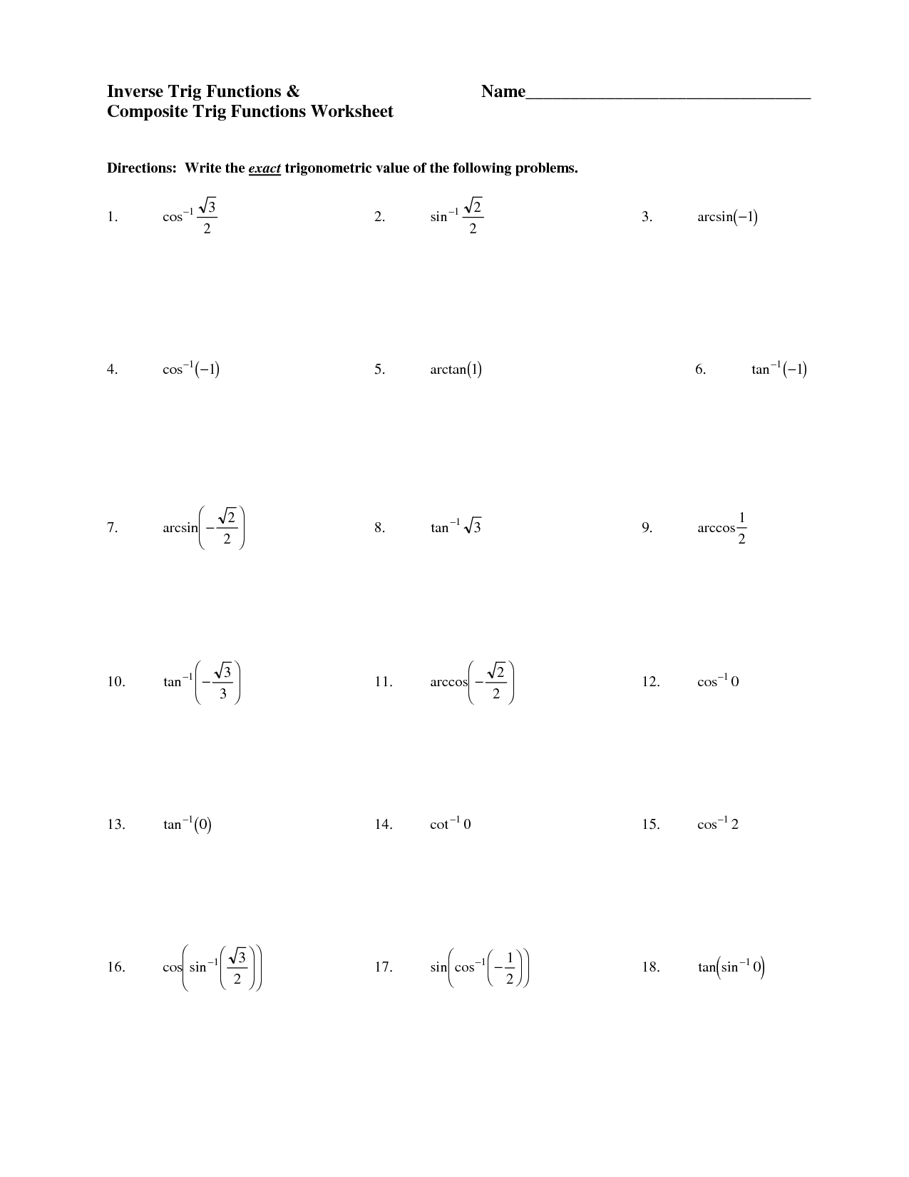 14 Best Images Of Trigonometry Trig Worksheets