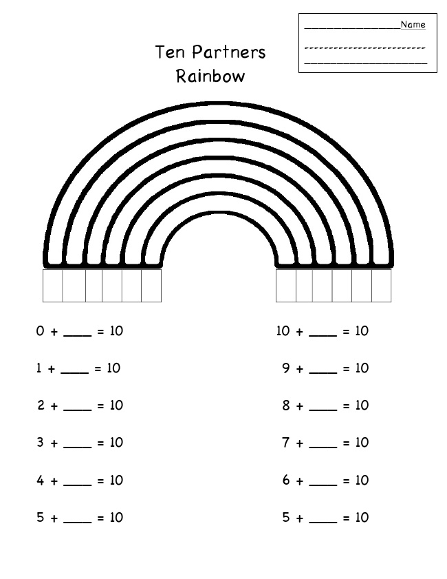 11 Best Images of Number Partners Of Ten Worksheets