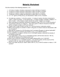 7 Best Images of Molarity Worksheet With Answers ...