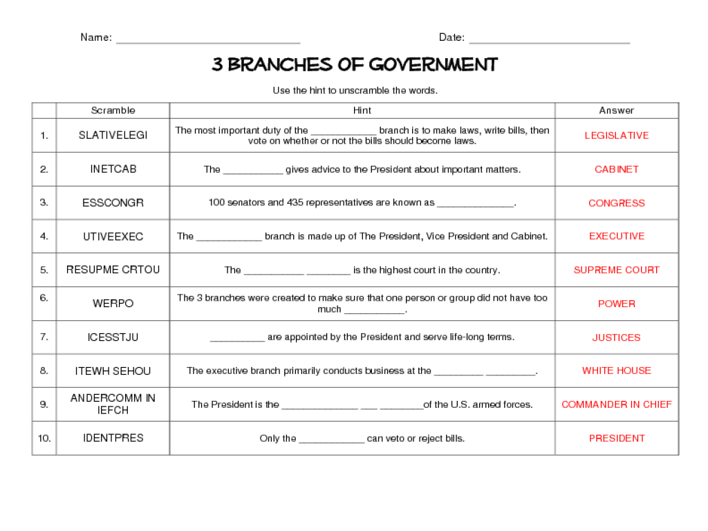10 Best Images Of Printable Government Worksheets