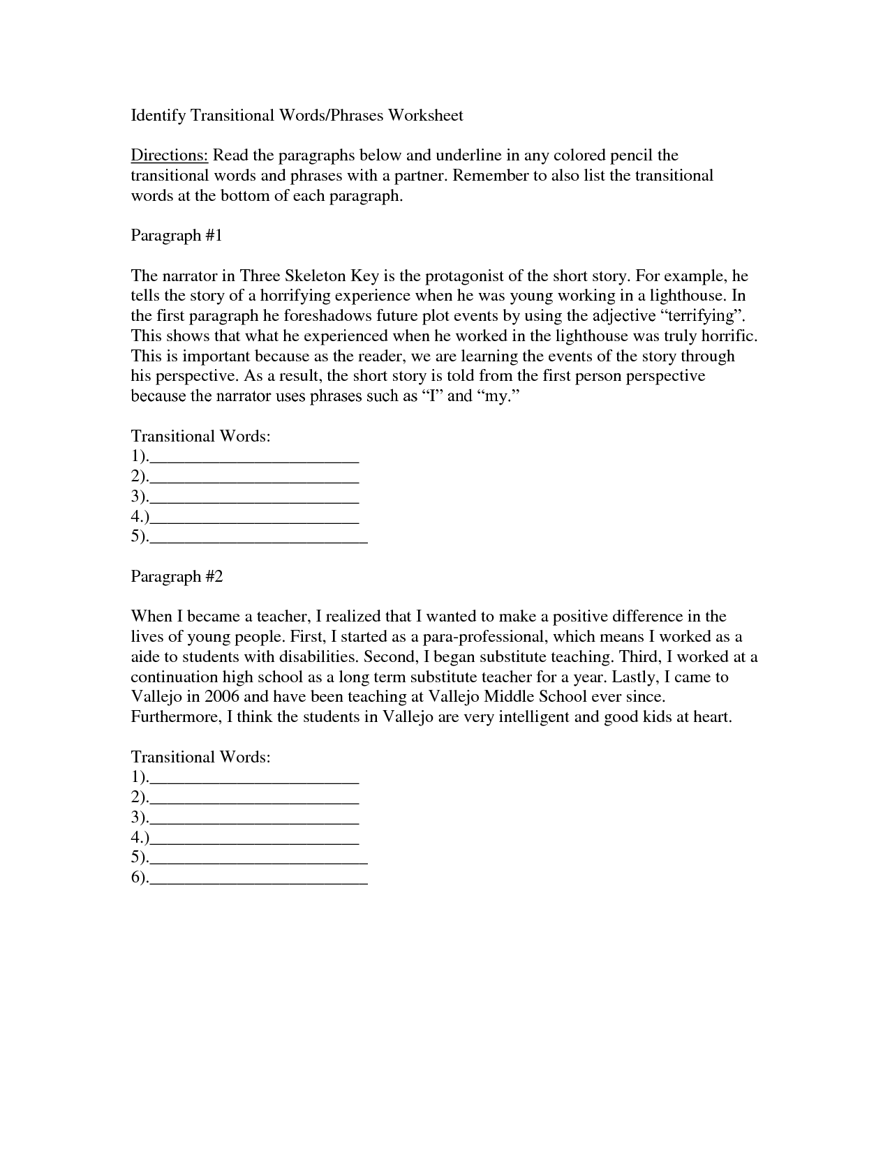 33 Transition Words Worksheet High School