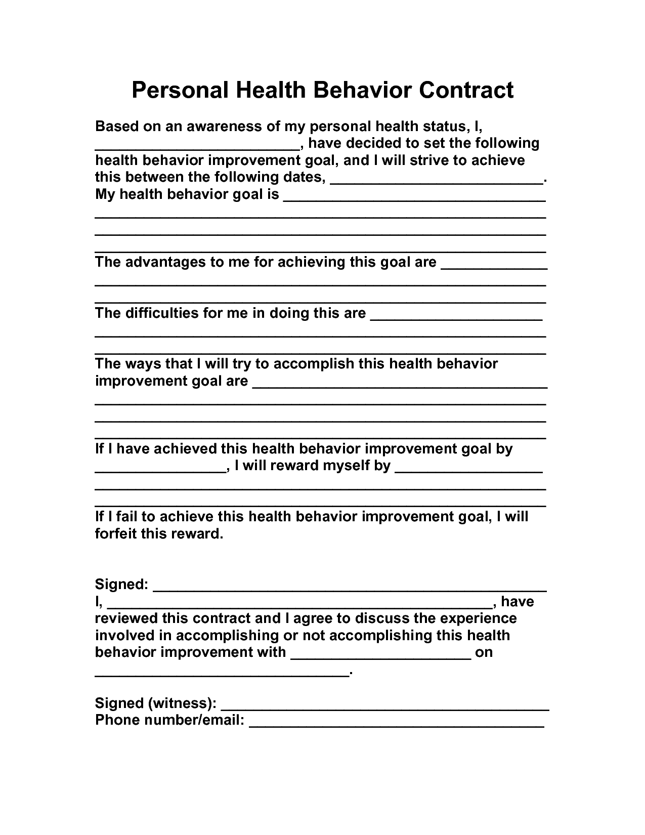 15 Best Images Of Behavior Change Contract Worksheet
