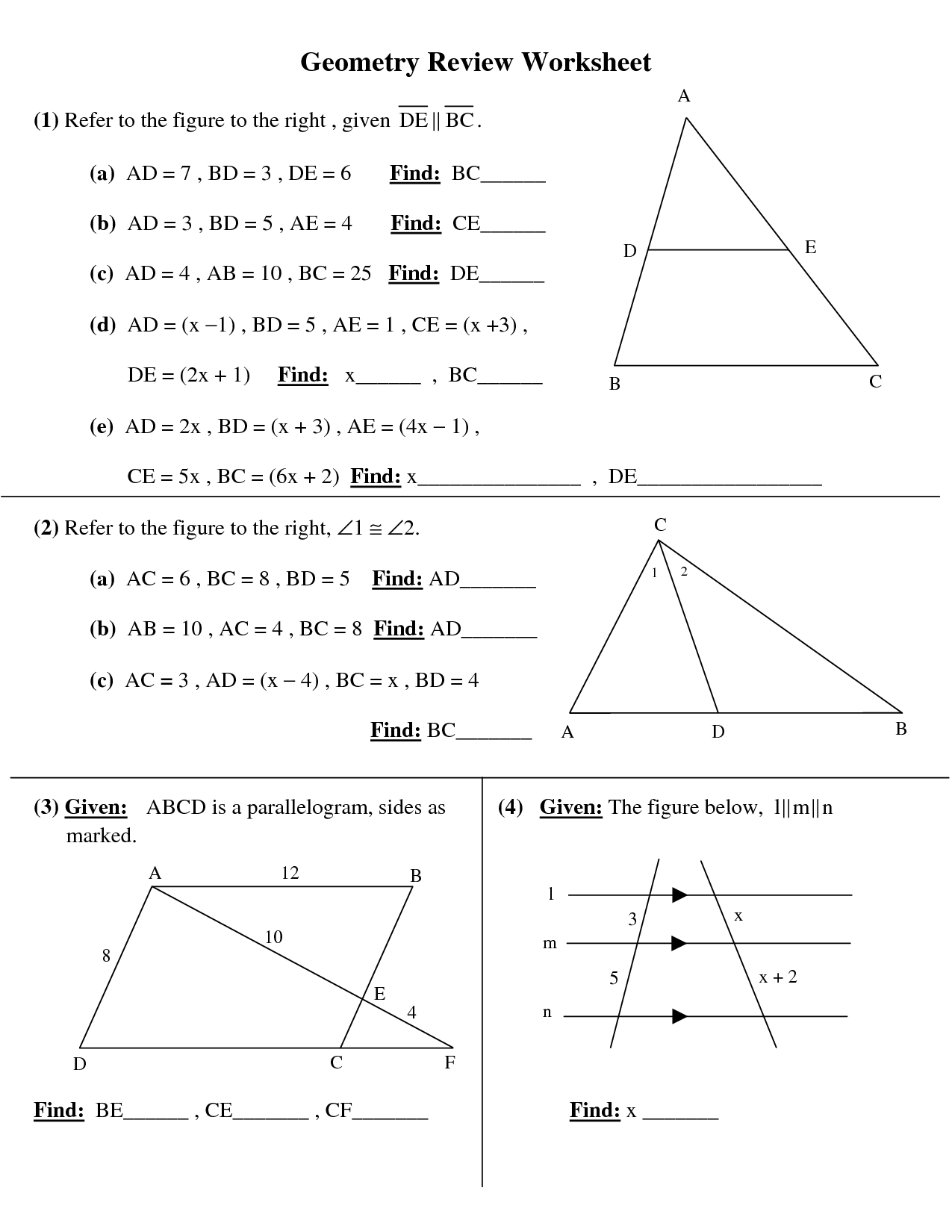 12 Best Images Of Free 10th Grade Geometry Worksheets