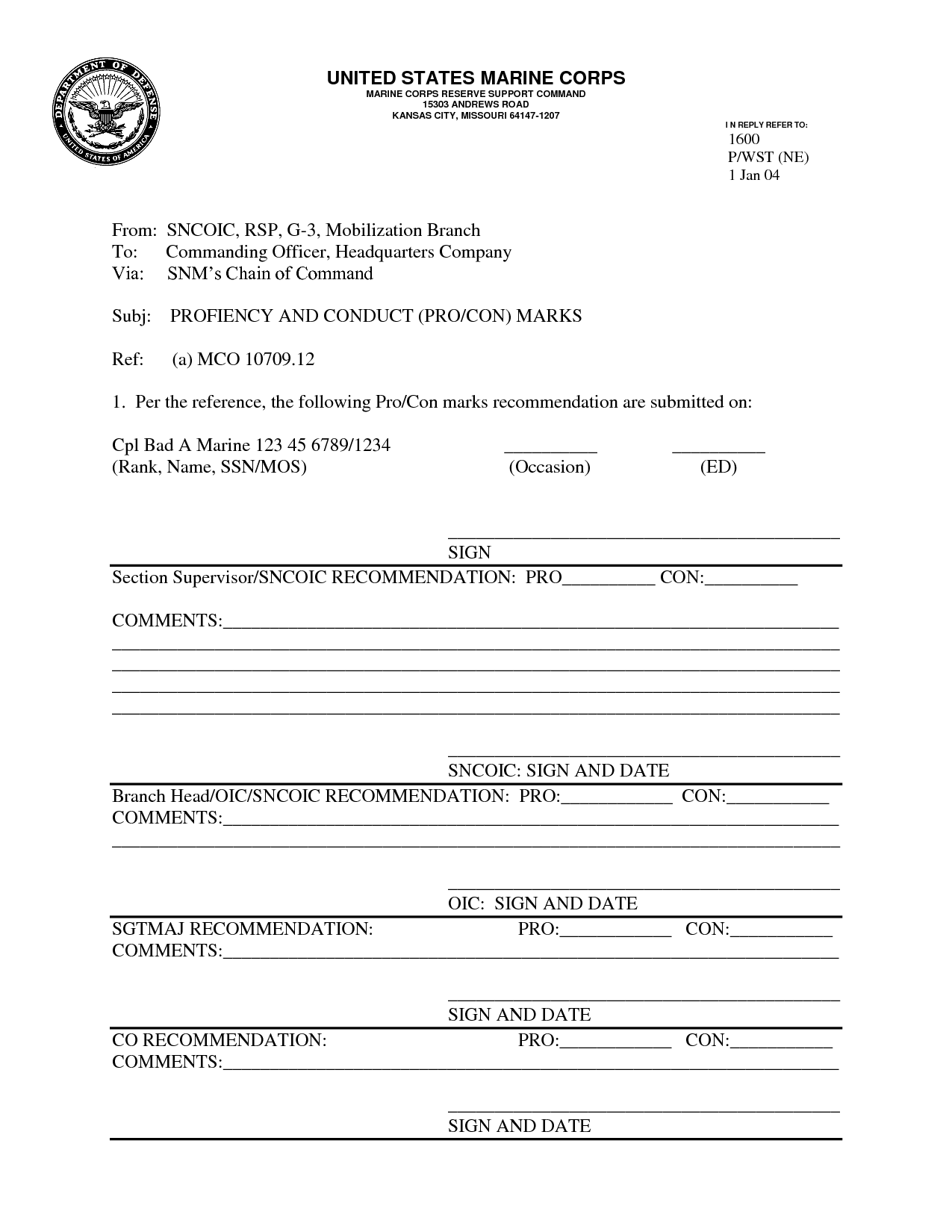 Marine Corps Pros And Cons Worksheet
