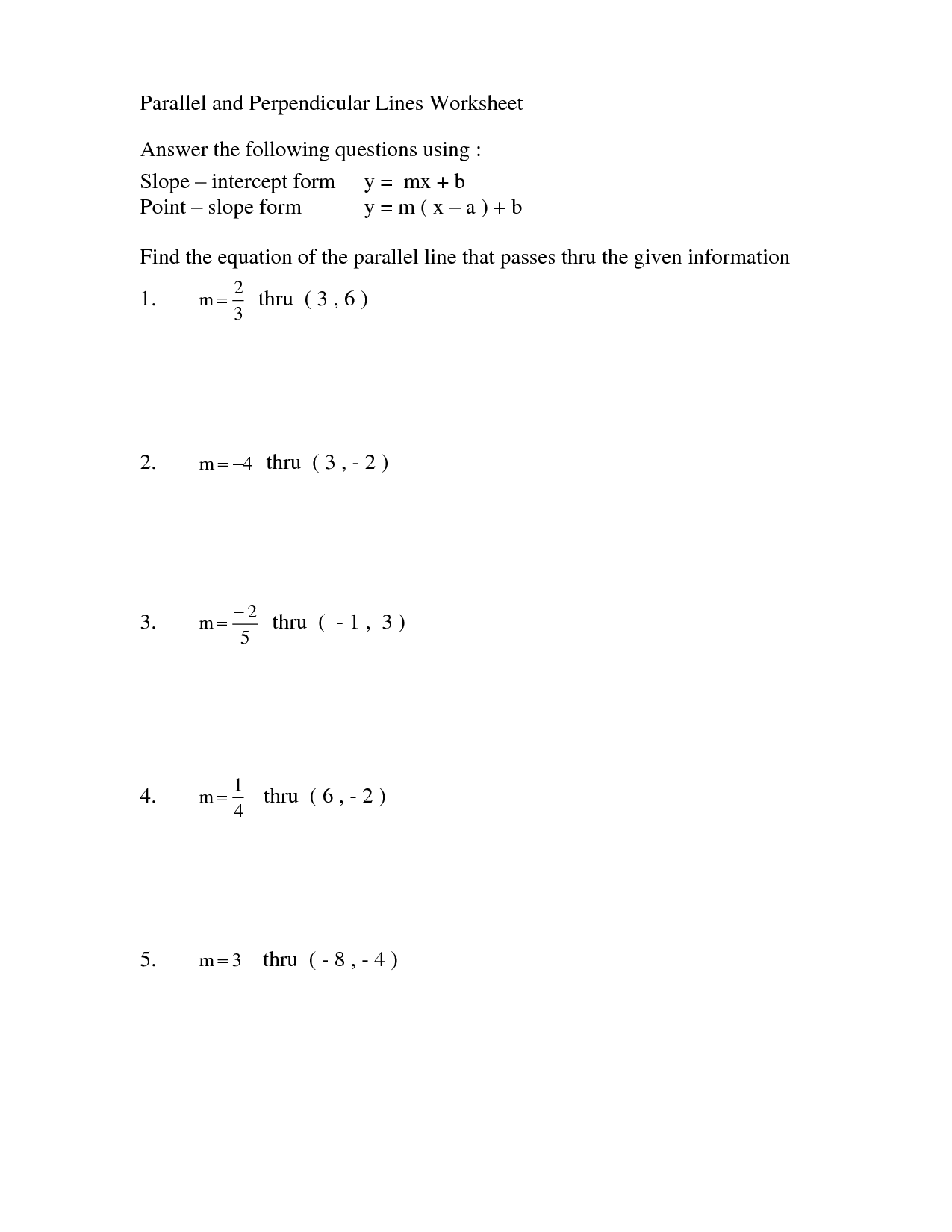 27 Equations Of Parallel Lines Worksheet