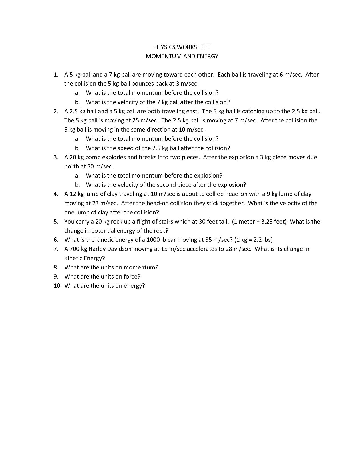 Work Problems Physics Worksheet