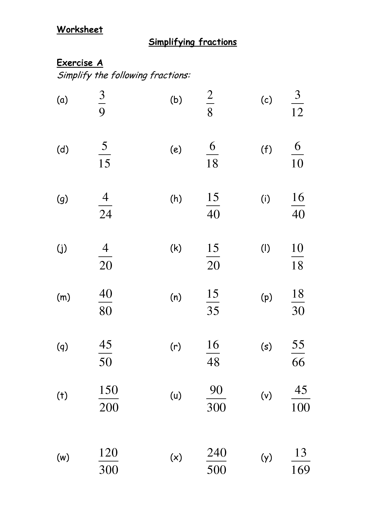 Reducing Fractions Fourth Grade Worksheet