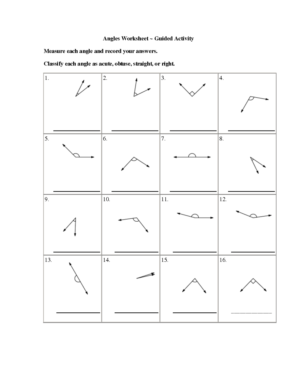 medium resolution of Acute Right Obtuse Angles Worksheet   Printable Worksheets and Activities  for Teachers