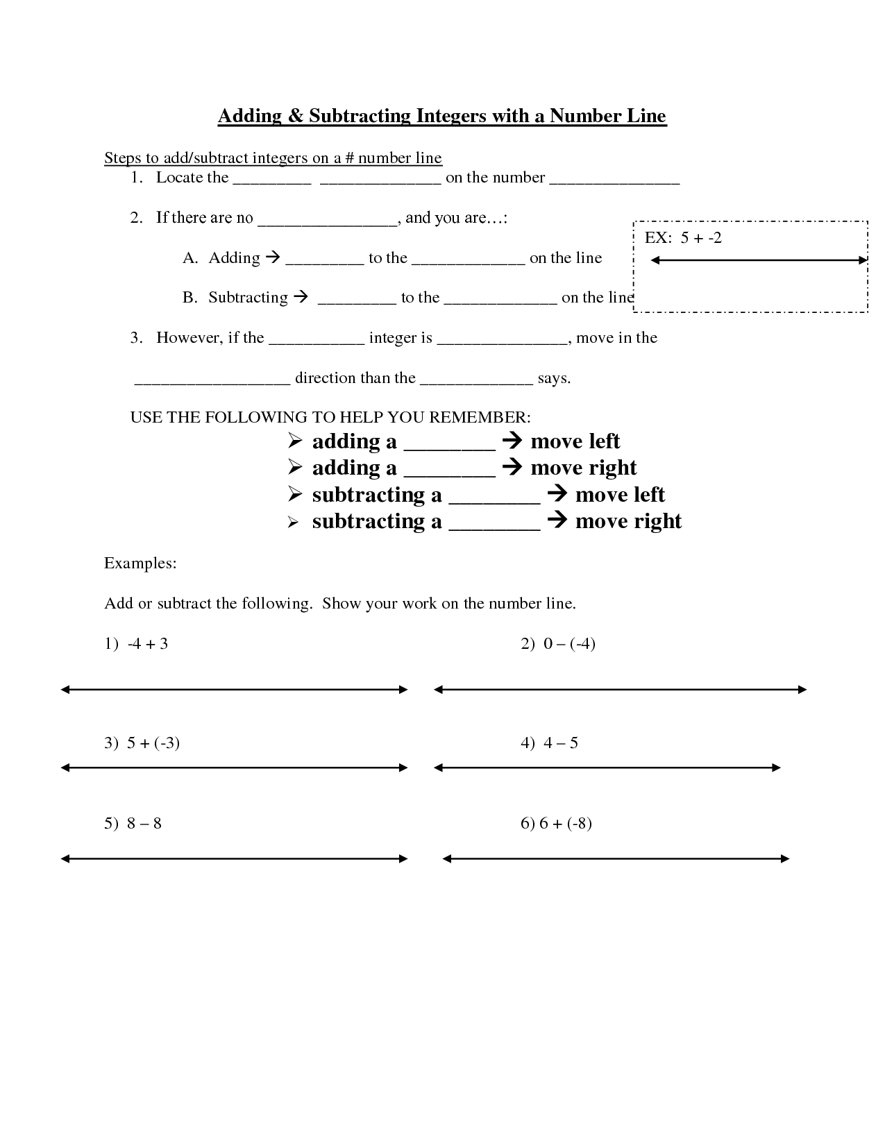8 Best Images Of Worksheet On Number Line Integers