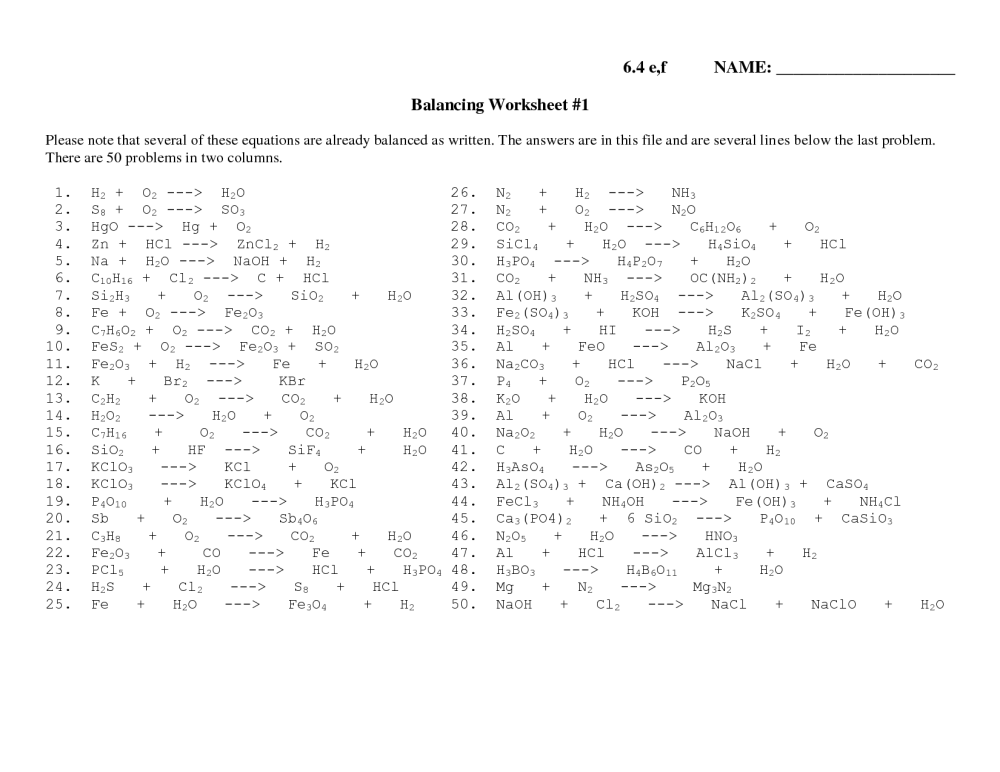 medium resolution of Practice Balancing Chemical Equations Worksheet Key   Printable Worksheets  and Activities for Teachers