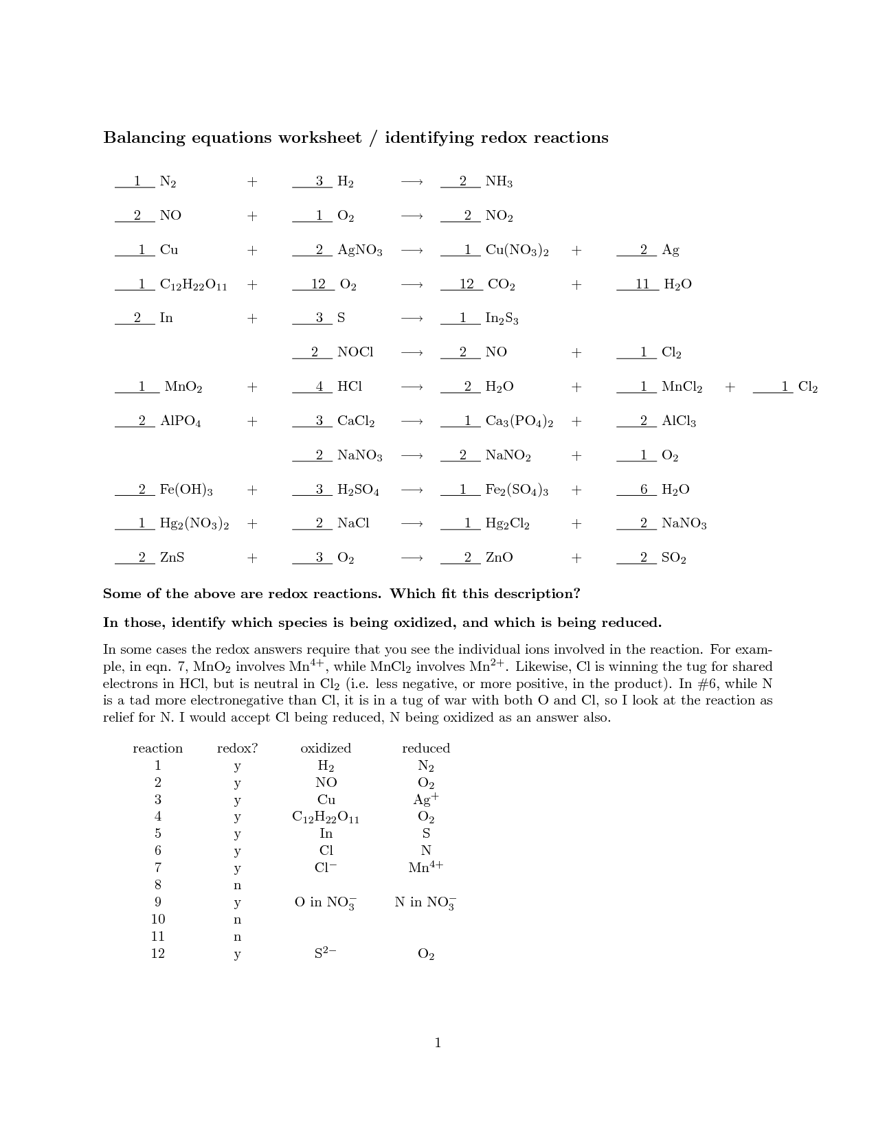 15 Best Images Of Chemical Reactions Worksheet With Answers
