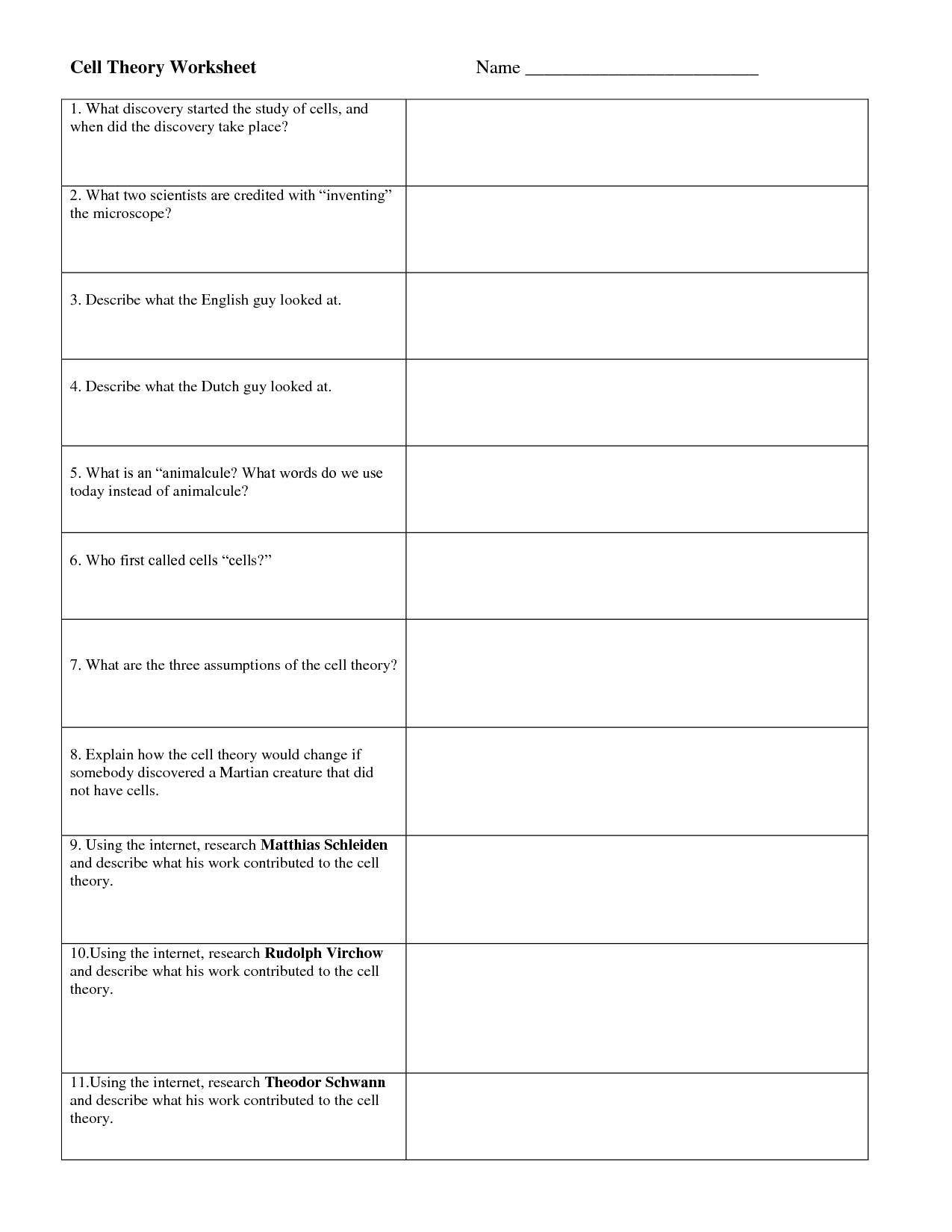 Cozy Cell Theory 9th 12th Grade Worksheet Lesson Planet