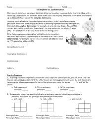 16 Best Images of Incomplete And Codominance Worksheet ...