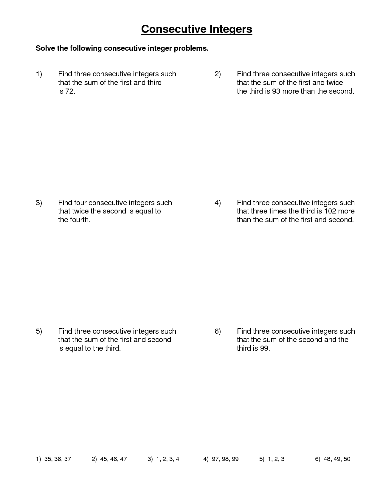 9 Best Images Of Math Word Problem Worksheets Integers