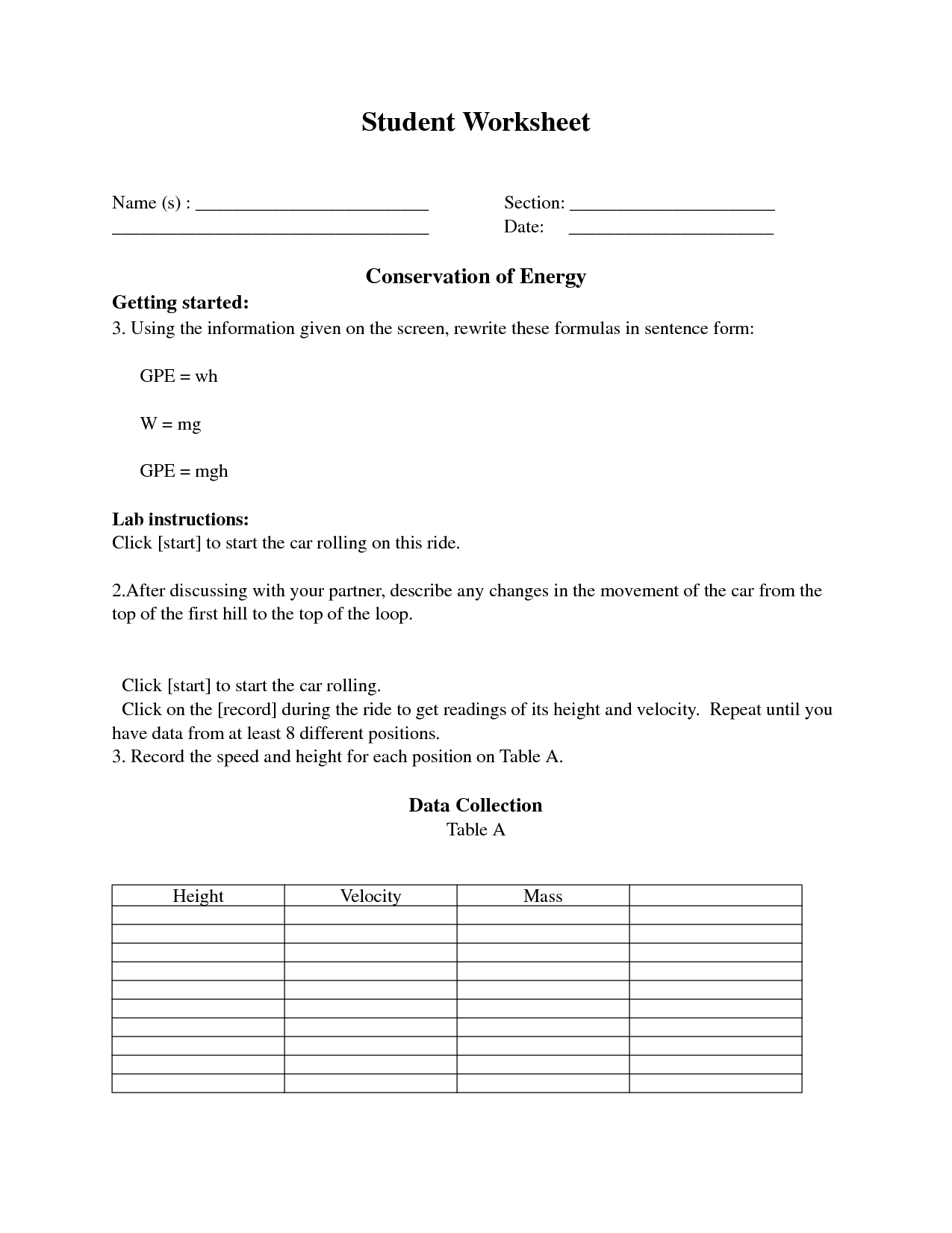 Alternative Energy Worksheet Activity