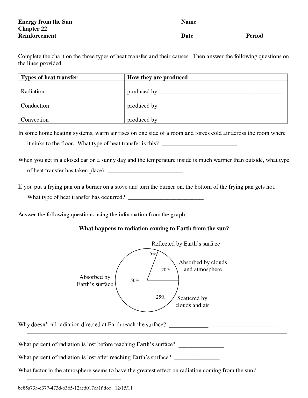 8 Best Images Of Heat Production Worksheets