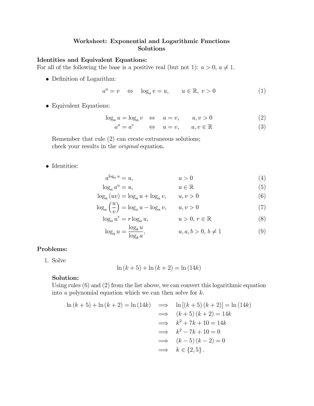 Solve Logarithmic Equations Kuta