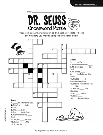 11 Best Images of Crossword Puzzle 2nd Grade Worksheets