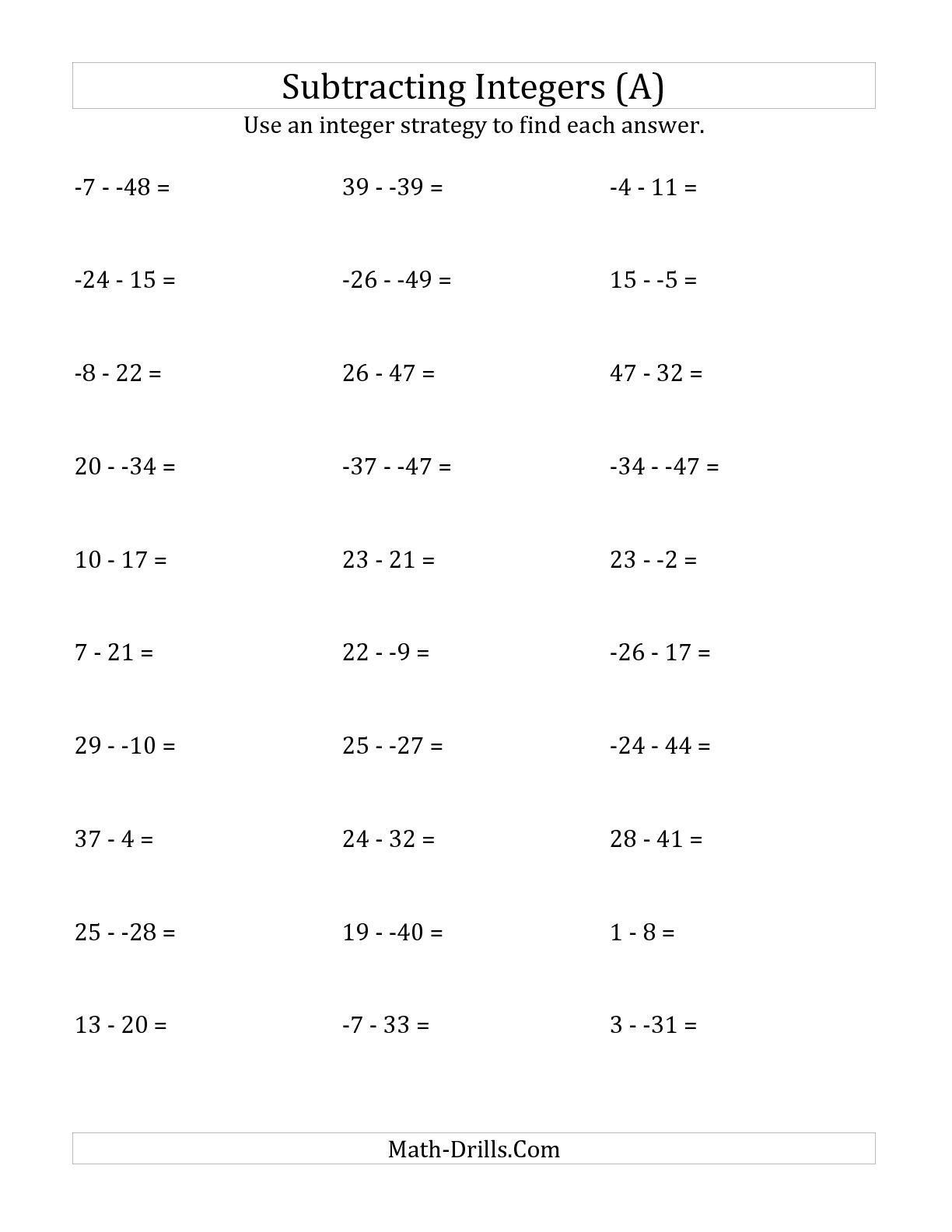 15 Best Images Of Adding Integers Worksheets 7th Grade With Answer Key