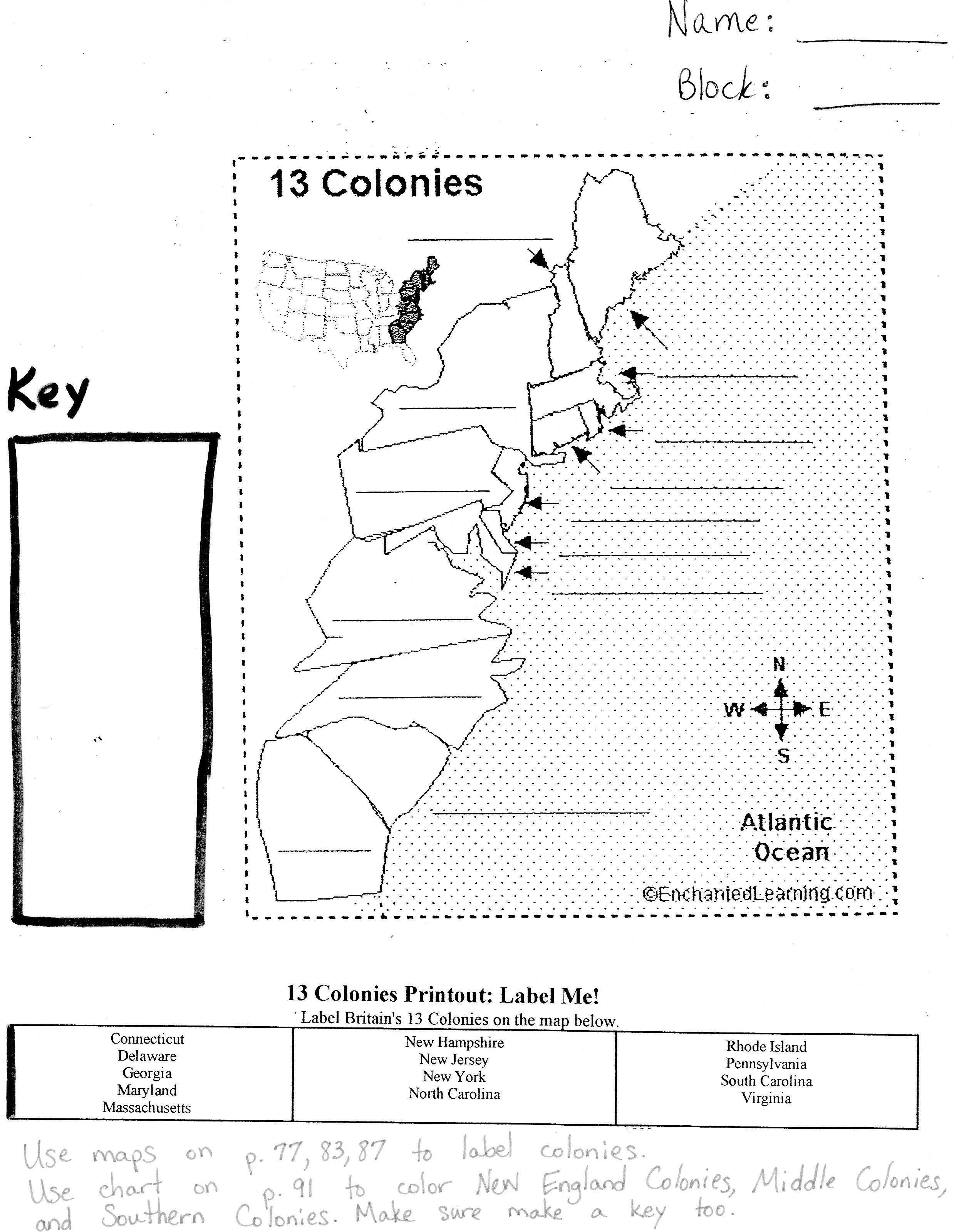 13 Colonies Blank Map Game