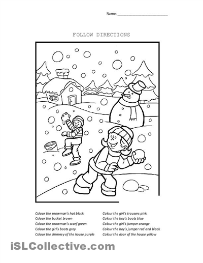 Christmas Following Directions Coloring Worksheets