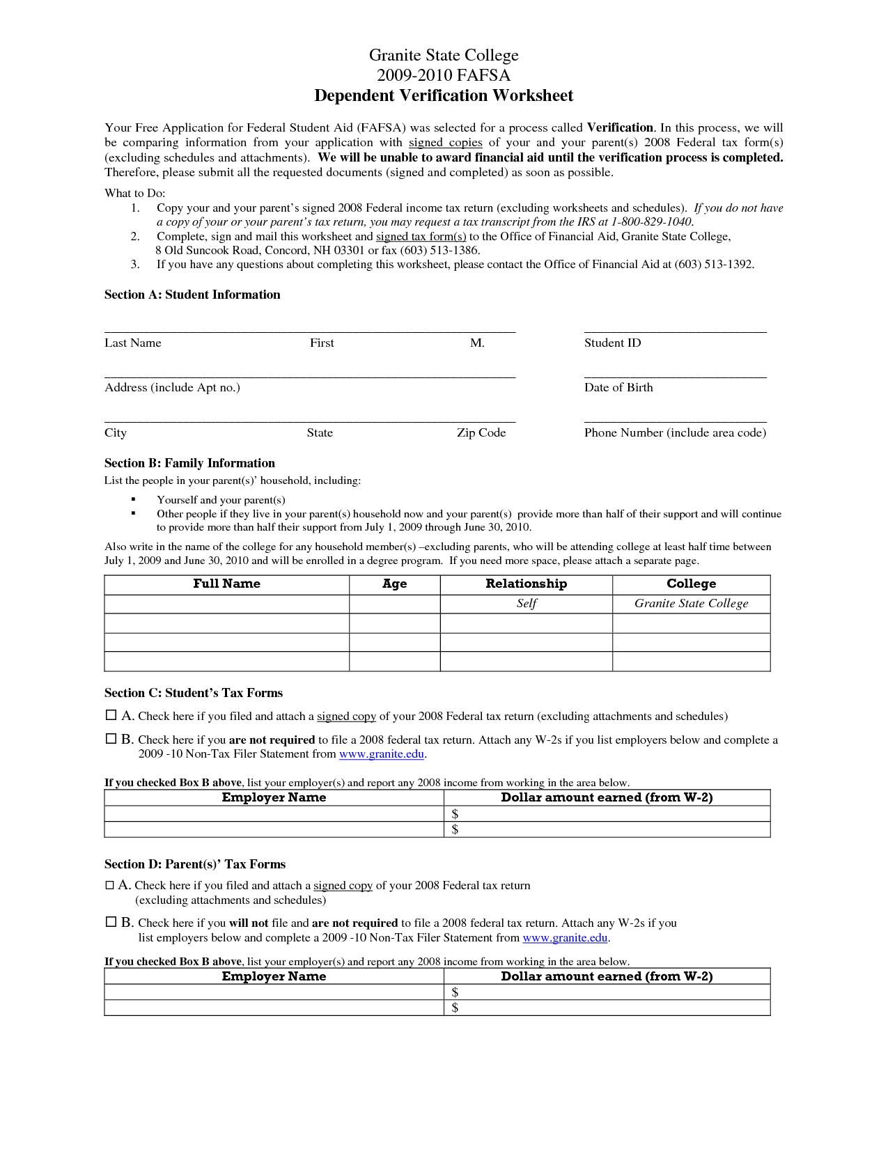 Uncg Verification Worksheet