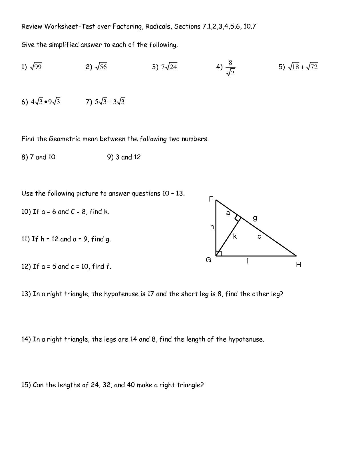 8 Best Images Of Geometric Mean Right Triangles Worksheets