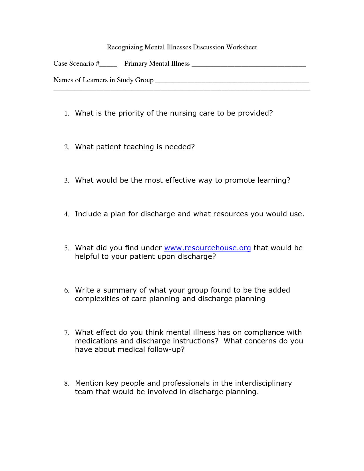 10 Best Images Of Mental Health Crisis Plan Worksheet