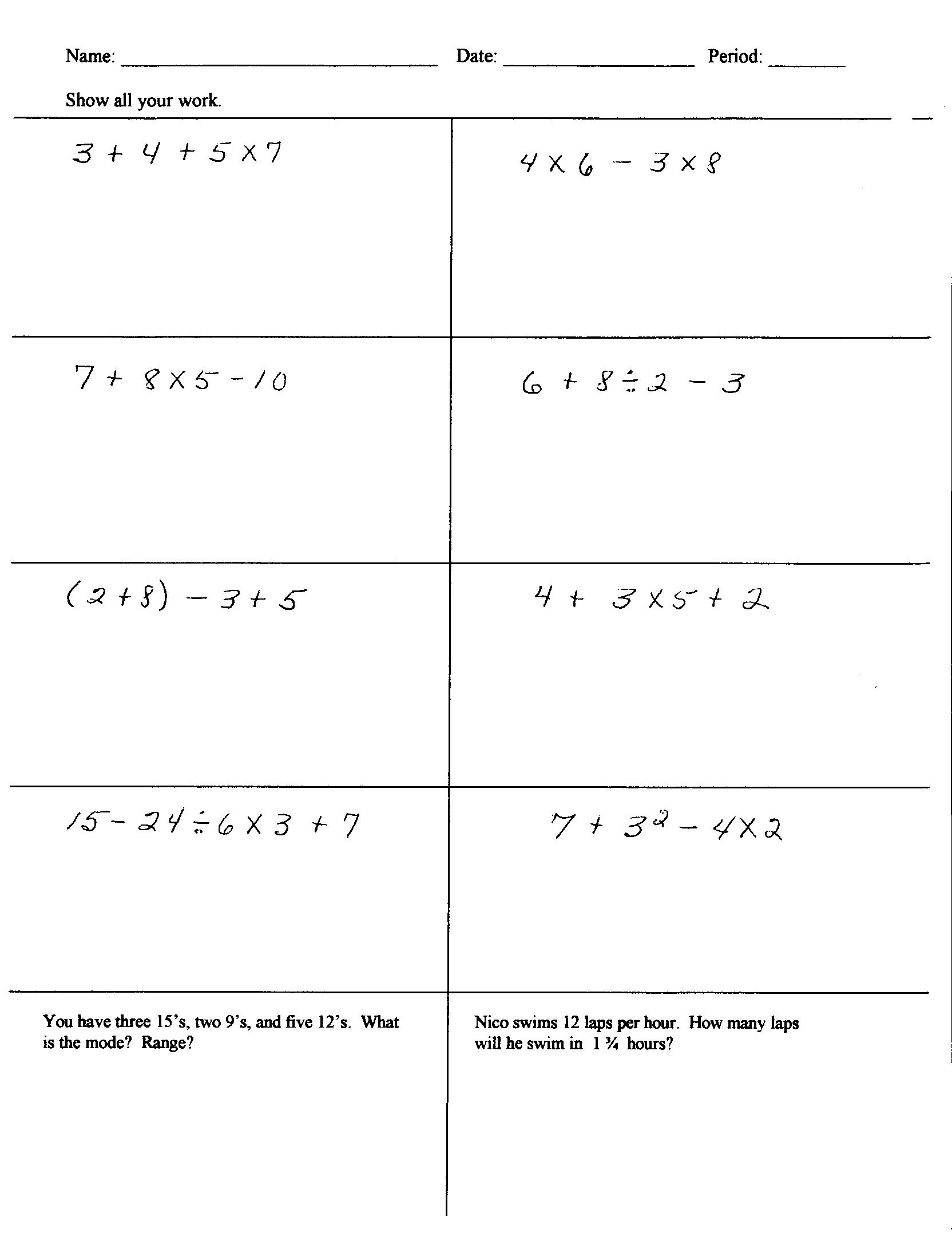17 Best Images Of Order Of Operations Pemdas Worksheets 6th Grade