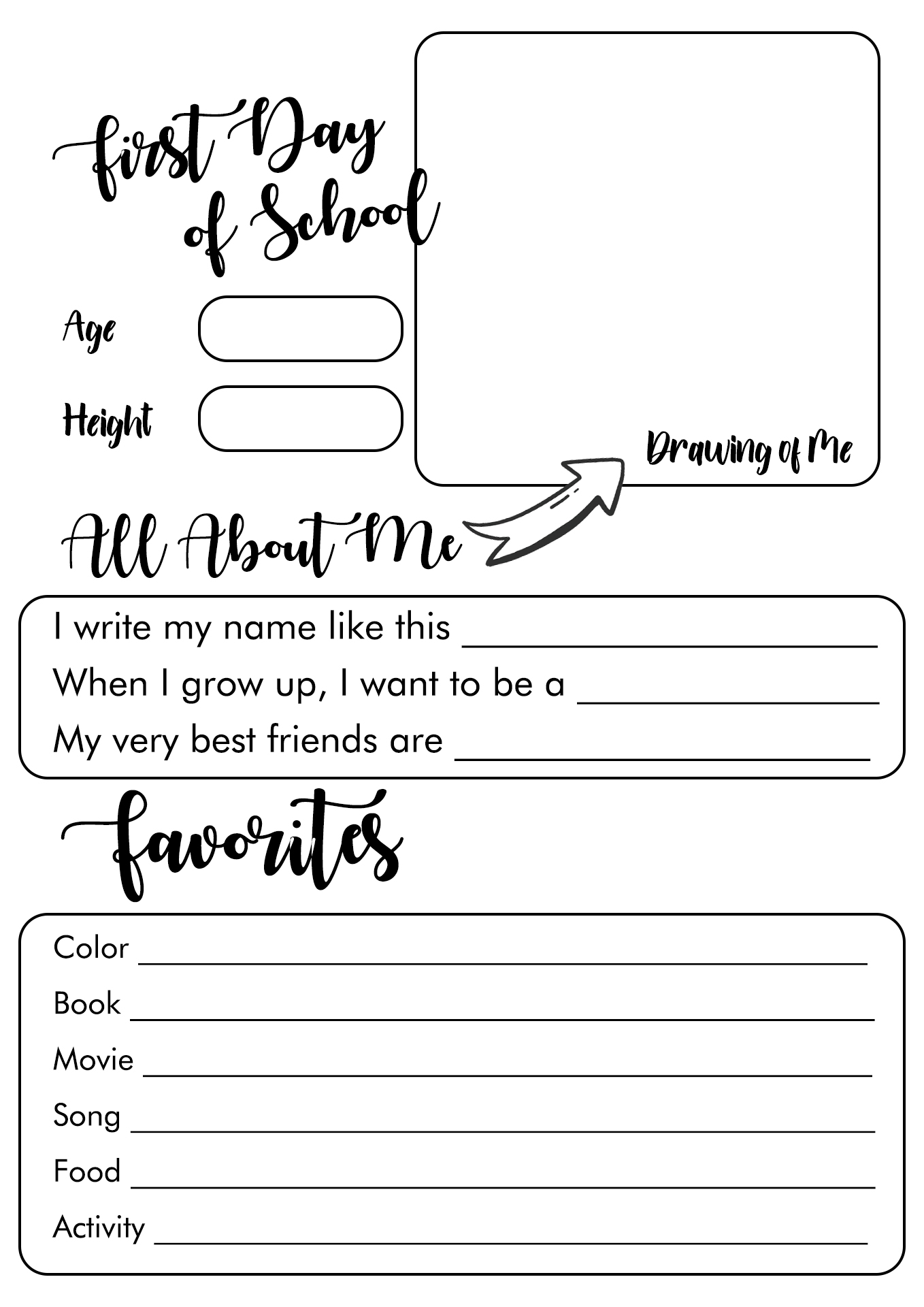 8 Best Images of My First Day Of School Preschool