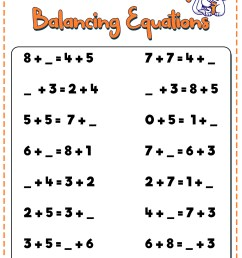 Balancing Equations 1st Grade Worksheet   Printable Worksheets and  Activities for Teachers [ 816 x 1056 Pixel ]