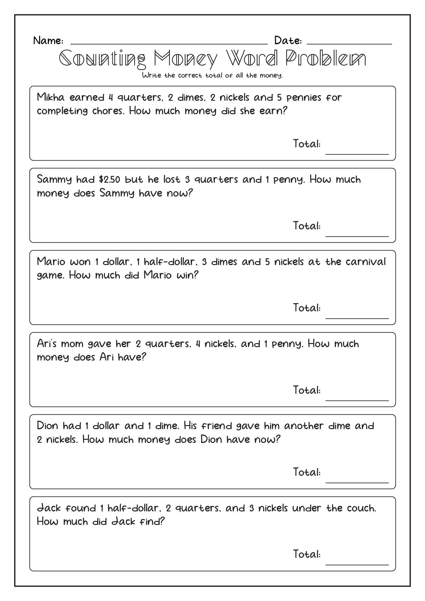 1st Grade Money Word Problem Worksheets