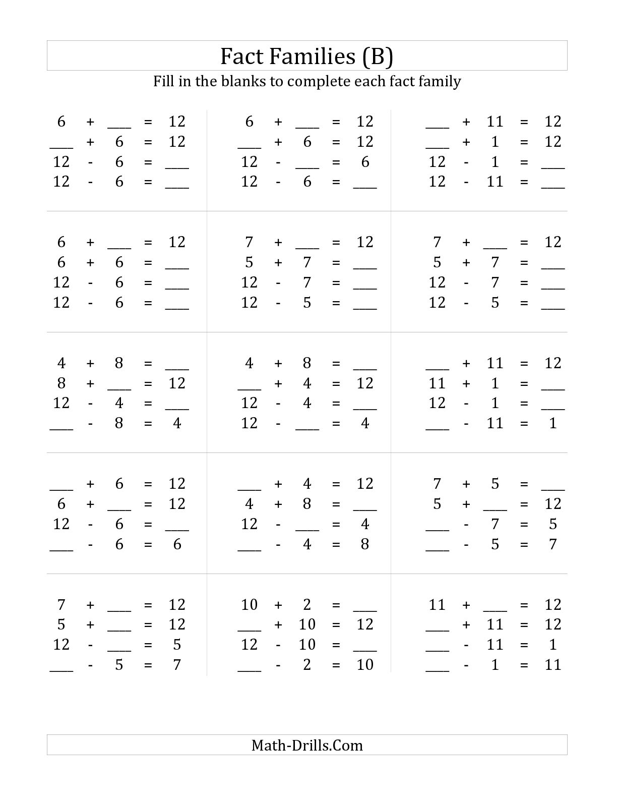 13 Best Images Of Addition Subtraction Fact Family