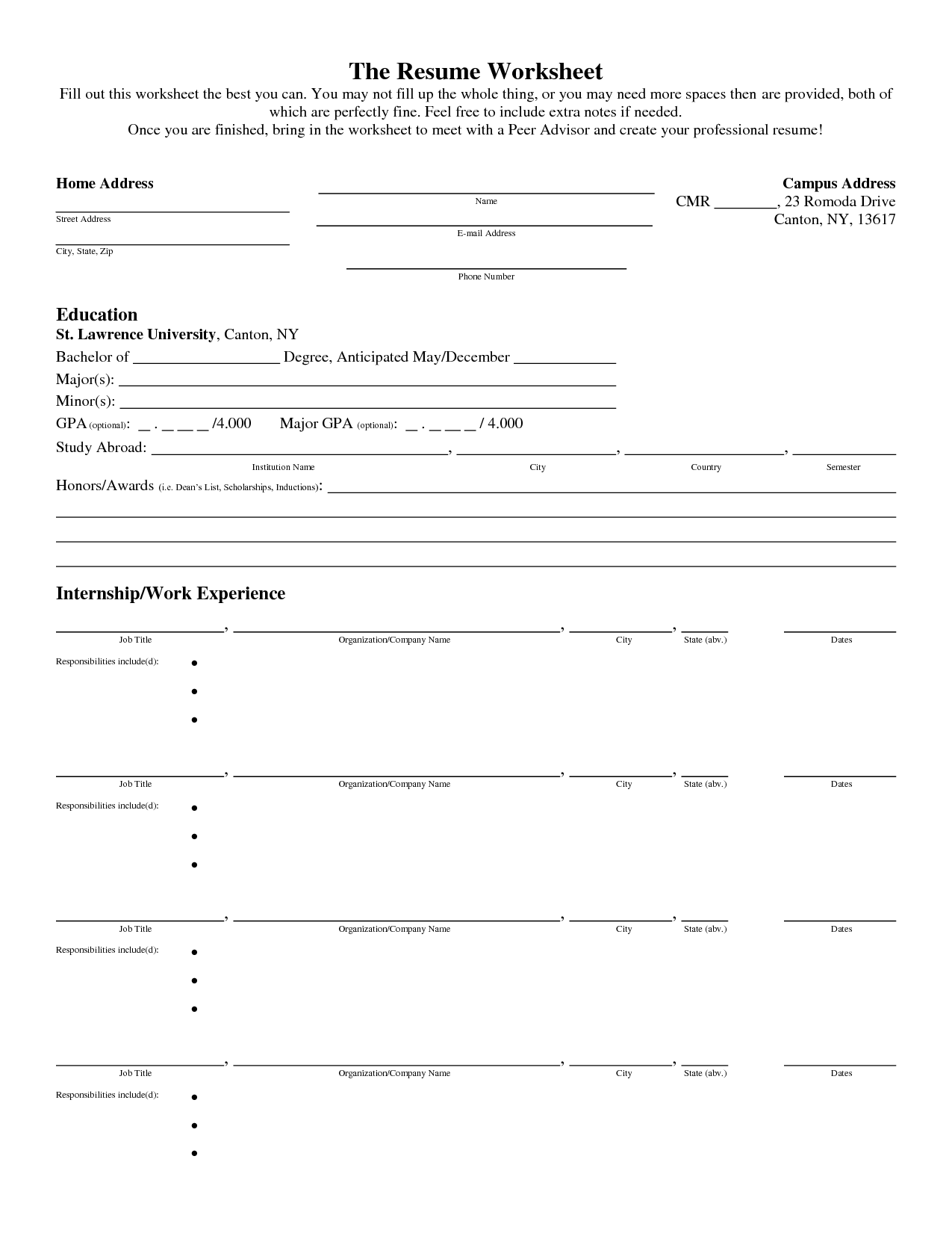 Insolvency Worksheet Fill