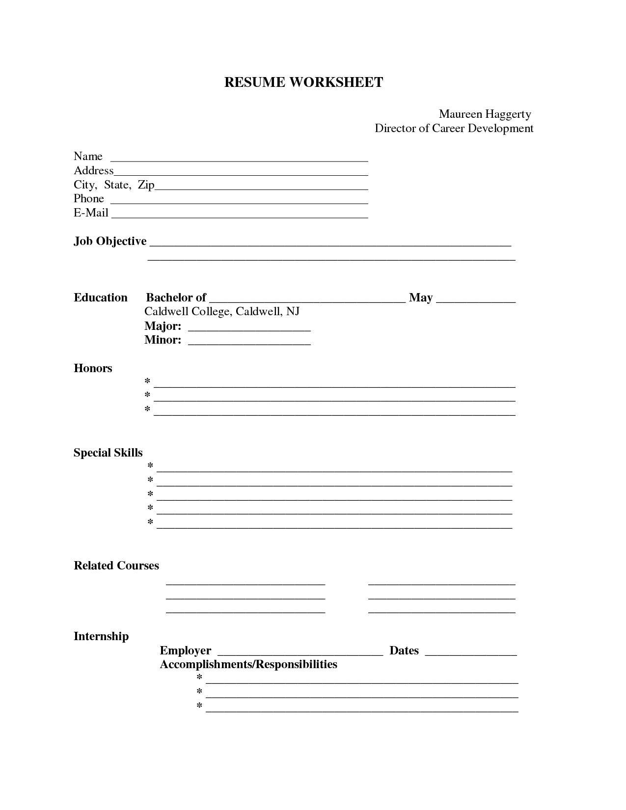10 Best Images Of Blank Resume Template Worksheet