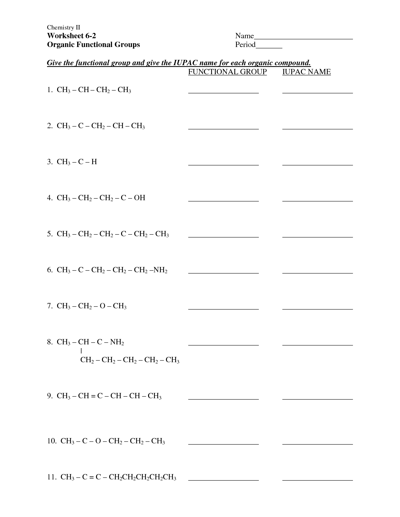14 Best Images Of Organic Chemistry Worksheets