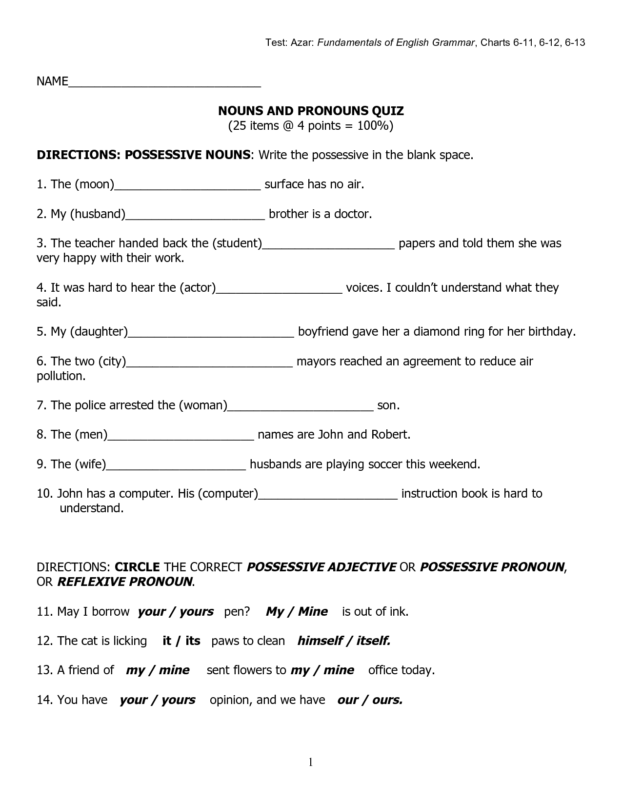 15 Best Images Of Free Possessive Nouns Printable