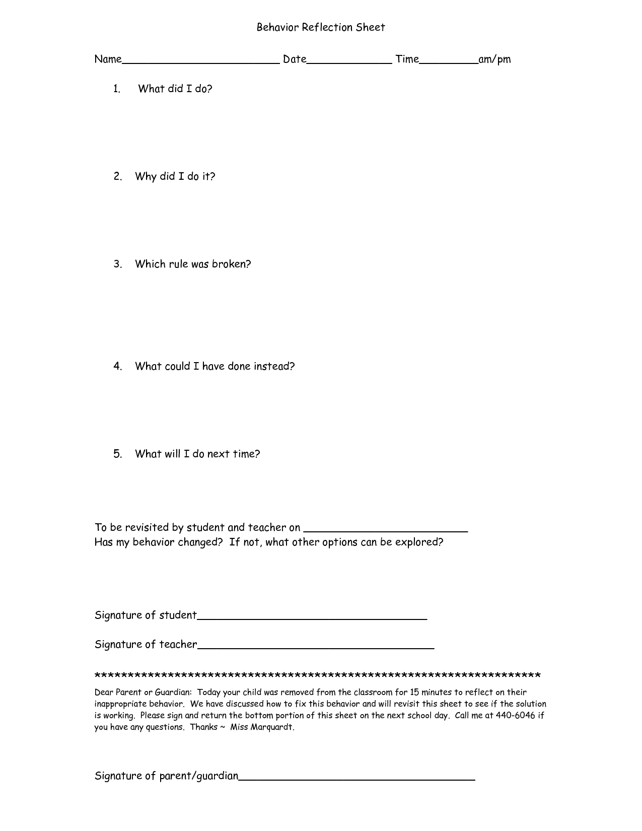 18 Best Images Of Student Behavior Reflection Worksheets
